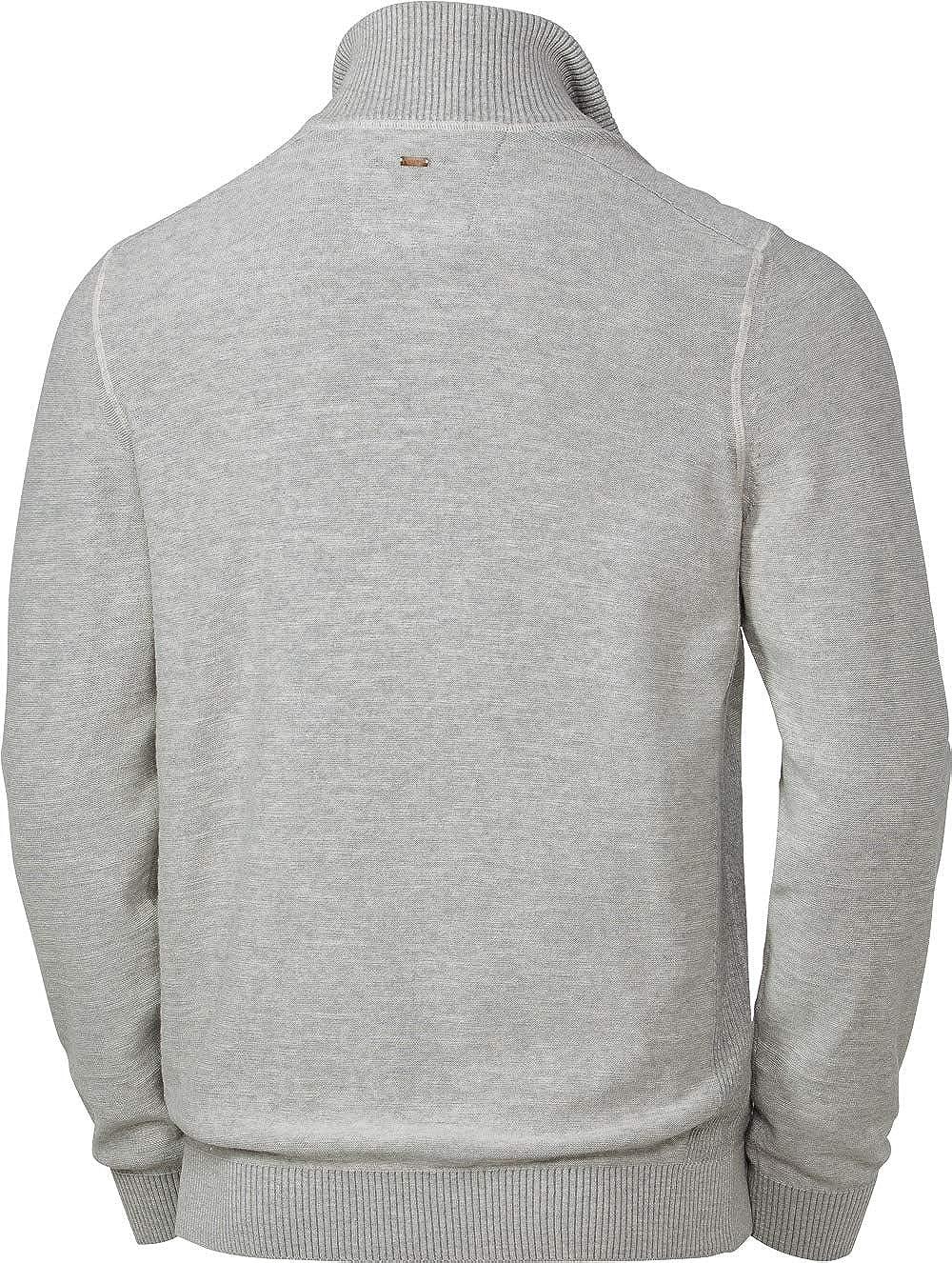 Stehkragen Rei/ßverschluss M Strickjacke f/ür M/änner Gr aus 100/% Baumwolle LERROS Herren Zip-Jacke in Gr/ün XXXL Melange-Garn Dunkelblau oder Hellgrau