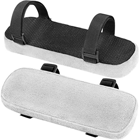 Wheelchair INTSUN Armrest Pad 2Pcs Padded Armrest Cushion Universal Arm Rest Pads with Adjustable Velcro Straps Elbow Pillow Memory Foam Arm Chair Covers for Office Chairs Gray Comfy Gaming Chair