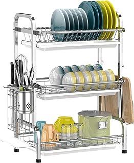Dish Drying Rack, Genuine 304-Grade Stainless Steel Utensil Holder Cutting Board Holder, Rustproof Dish Drainer with Remov...