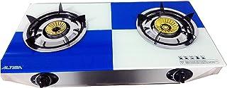 Table top Gas Stove 2 Burner Hob Freestanding Glass Indoor Piezo Caravan 7.2kW