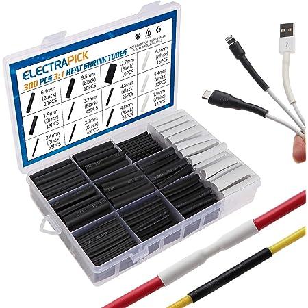 3MM 1M RETYLY Tube thermoretractable noir Enveloppe de tube de gaine thermoretractable pour cable//fil electrique de voiture