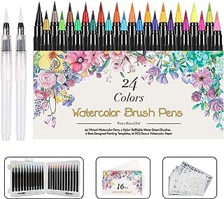 WOTEK Pinselstifte Set Brush Pen 48er,Aquarellstifte 24 Fabren+ 2 Einem Befüllbaren..