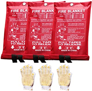 Emergency Survival Fire Blanket Kitchen Flame Retardant Protection Heat Insulation Fire Emergency Blanket for Fireplace Ca...