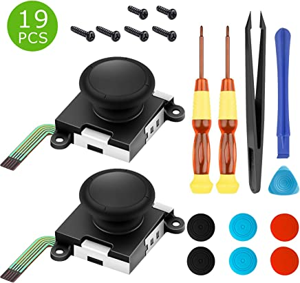 Two Pack Analog 3D Joy con Joystick Replacement for Nintendo Switch,joycon Switch joysticks compatiable with Left joycon Right Switch Joy con Controller Full NS Repair Tool Set(19 in 1)