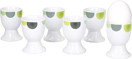 Preisvergleich für Van Well | 6er Set Eierbecher Rondo rund | Becher Ø 5 cm | hoher Eier-Ständer | Egg Cup | abstrakte Retro-Kreise grün-gelb | edles Porzellan-Geschirr