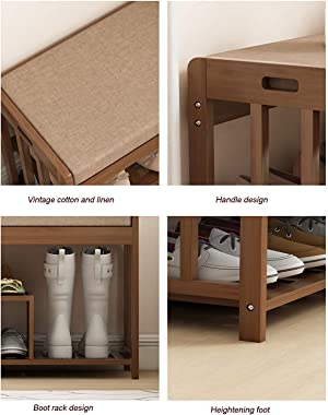 Shoe Rack Bench Wooden Shoe Storage Entryway with Cushioned Seat for Bedroom Living Room Hallway,50 X 30 X 50cm