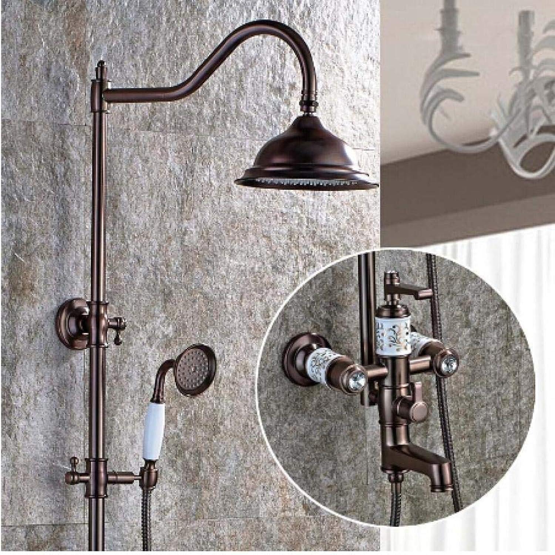 QFSLT Bad Dusche Wasserhahn ORB Messing Hhe einstellen Handbrause Bad Wasserhahn Wandmontage Bad & Dusche Wasserhahn Set