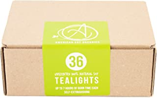 American Soy Organics Soy Tea Light Candles - Unscented and Paraffin-Free White Tea Lights with 7 Hour Burn Time, 36 Pack