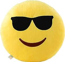 New York Emoji Satin Cool Glasses Emoji Pillow (Yellow, 12. 5-inch Large Smiley)