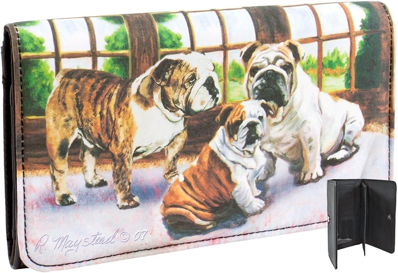 Best Friends Animal World  Bulldogs in Front of Window Checkbook Wallet Multi