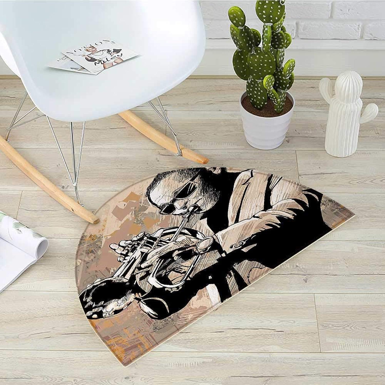 Jazz Music Half Round Door mats Grunge Style Illustration of African Musician with Sunglasses Playing Trumpet Bathroom Mat H 31.5  xD 47.2  Beige Black