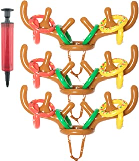 SOTOGO 21 Pieces Christmas Inflatable Reindeer Antler Toss Game for Kids Family Christmas Party Accessories