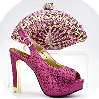 Newest Purple Italian Ladies Shoes and Bags to Match Set for Party Women Shoe and Bag Set African Sets