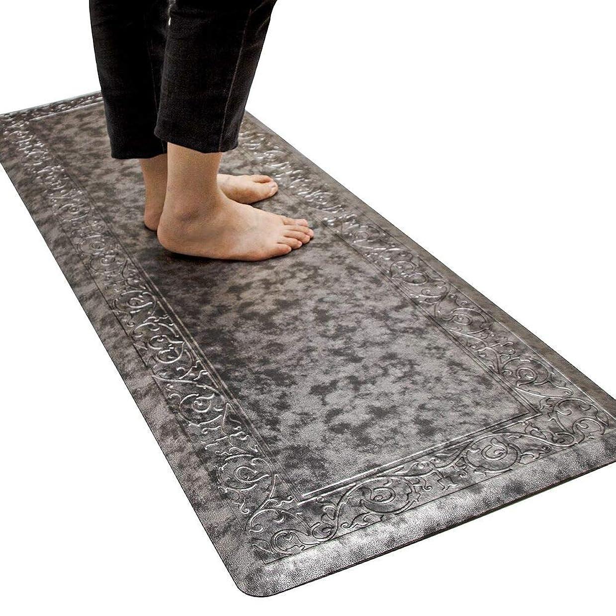 アベニューつらいドア拭けるマット心地よいクッション疲れにくい-51x152cm厚さ12mm 滑り止め付き- 台所、居間、 オフイス、玄関、廊下(シルバーブラック)