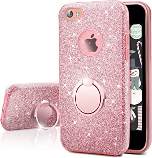 iPhone 4S Case, iPhone 4 Case, Silverback Girls Bling Glitter Sparkle Cute Phone Case with 360 Rotating Ring Stand, Soft TPU Outer Cover + Hard PC Inner Shell Skin for Apple iPhone 4S / 4 -Rose Gold