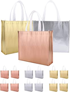 PHOGARY Large Gift Bags with Handle (Gold, Silver, Rose Gold) Non-Woven Stylish Tote Bags for Birthday Wedding Party Favour Baby Shower Present Wrap, Reusable Glossy Grocery Bags