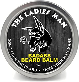 Badass Beard Care Beard Balm - The Ladies Man Scent, 1 Ounce - All Natural Ingredients, Soften Hair, Hydrate Skin to Get Rid of Itch and Dandruff, Promote Healthy Growth