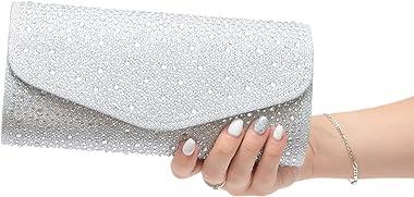 Vain Secrets Damen Abendtasche Clutch Brauttasche Silber Strass