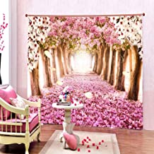 VIS 3D Tree Flower Digital Printed Polyester Fabric Curtains for Kids Room Bed Room with Eyelet Rings Color Pink Window/Do...