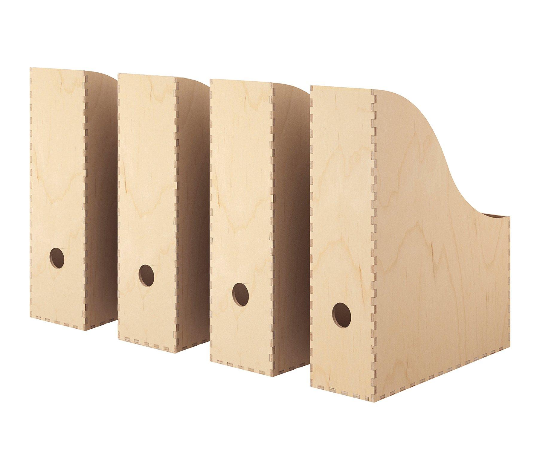 Knuff IKEA revistero, Natural Madera contrachapada de Abedul [Set de 4] para el hogar o la Oficina Libro Accesorio de, Periódicos, Revistas, Papel, Archivo, Almacenamiento: Amazon.es: Hogar