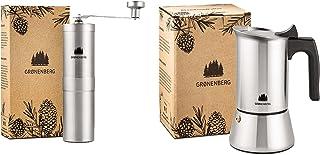 Groenenberg Spar-Pack 2 | kaffekvarn manuell + espressobryggare induktion 6 koppar rostfritt stål | handkaffekvarn | espre...