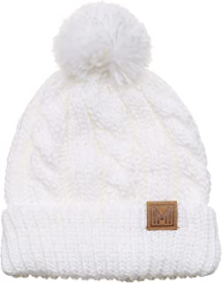 Winter Oversized Cable Knitted Pom Pom Beanie Hat with Fleece Lining.
