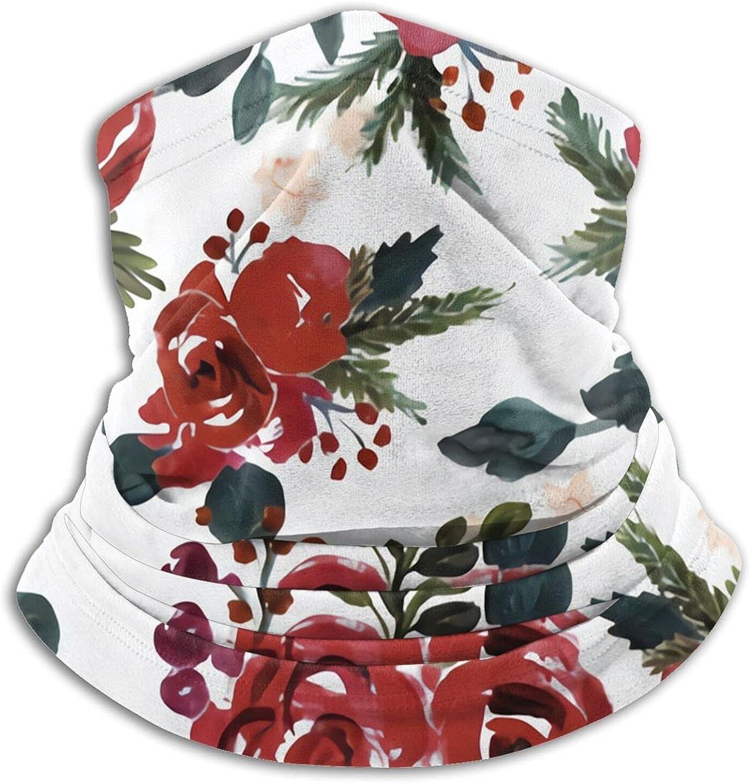 Vintage Holiday Floral Bandanas Neck Gaiter Face Mask Scarf Face Shield Black