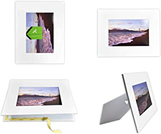Golden State Art, Pack of 10 White 8x10 Self-Assemble Photo Mat for 5x7 Picture with Backing Board pre-gummed W/Easel Display Stand, Includes 10 Clear Bags