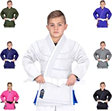 Elite Sports Essential IBJJF Ultra Light Brazilian Jiu Jitsu Kids BJJ Gi W/Preshrunk Fabric & Free White Belt