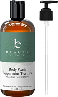 Peppermint Tea Tree Body Wash - Organic Body Wash, Natural Body Wash for Women & Mens Body Wash Tea Tree Soap, Shower Gel Body Wash For Men Tea Tree Oil Body Wash Organic Antifungal Body Wash Pump (1)
