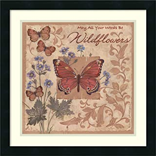 Framed Wall Art Print Butterflies and Flowers by Anita Phillips 22.00 x 22.00