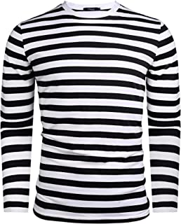 iClosam Mens Long Sleeve Basic Striped Shirt Crew Neck Cotton T-Shirt