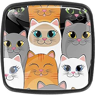 Paquet de 4 boutons d'armoire de cuisine, boutons pour tiroirs de commode Mignon chats1 Tire les poignées de porte
