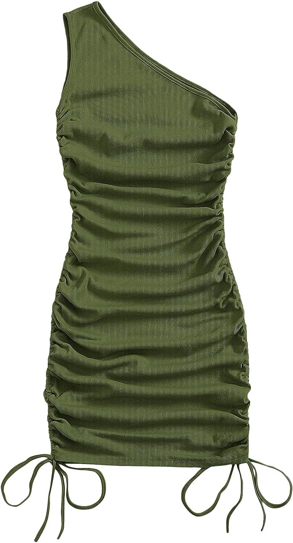 SheIn Women's One Shoulder Ruched Mini Bodycon Dress Sleeveless Drawstring Short Dresses