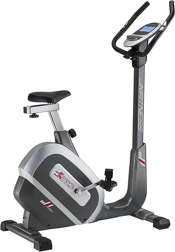 Jk fitness, cyclette elettrica, top performa jk 260 hrc, wireless, 24 livelli di resistenza gestita elettroni JK260