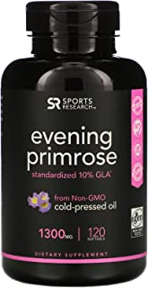 Evening Primrose Oil 1300mg 120 Liquid Softgels, Cold-Pressed with No fillers or Artificial Ingredients Non-GMO and Gluten...