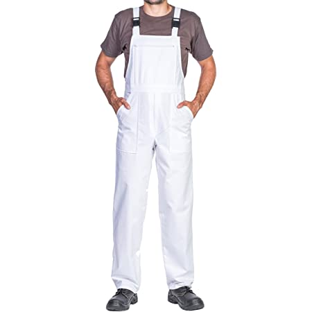 Work Bib and brace overalls, Overalls men, Bib and Brace Dungarees mens, Made in EU, Mazalat Protective coverall, S -3XL size - made in EU - work trousers for man, Lots of colors (XXXL, White)