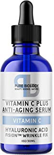 "Pure Biology ""C+"" Vitamin C Serum (30%) with Hyaluronic Acid, Witch Hazel, Vitamin E & Breakthrough Anti Aging, Anti Wrinkle Complex – Lighten Dark Spots, Acne Scars – Men & Women"