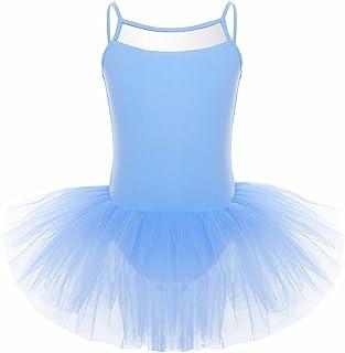inhzoy Robe de Danse Enfant Fille Justaucorps de Danse Tutu Robe Ballet Dentelle Robe Salsa Tango Robe Patinage Body Combinaison Gymnastique Yoga Dancewear 4-12 Ans