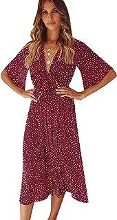 SOLERSUN Women's Summer V Neck Ruffle Polka Dot Wrap Casual Party Midi Dress