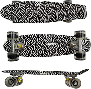 Asdf Plastic Skateboard for Kids, Complete Dual Kick Single-Warp, Mini 22 Inch Highly Flexible Skateboards with PU Wheels for Beginners Or Professional