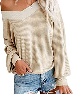 Zarjar Womens V Neck Long Sleeve Off The Shoulder Sweater Oversized Pullover Waffle Knit Tops Jumper Sweatshirts