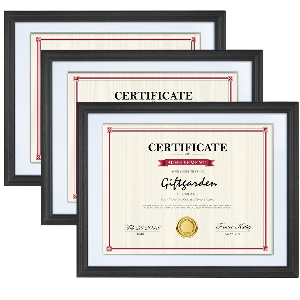 Amazon Com Giftgarden 8 5x11 Picture Frames With White Mats 3 Pack Diploma Certificate Document Award Frame Decor Of Wall Mounting Black