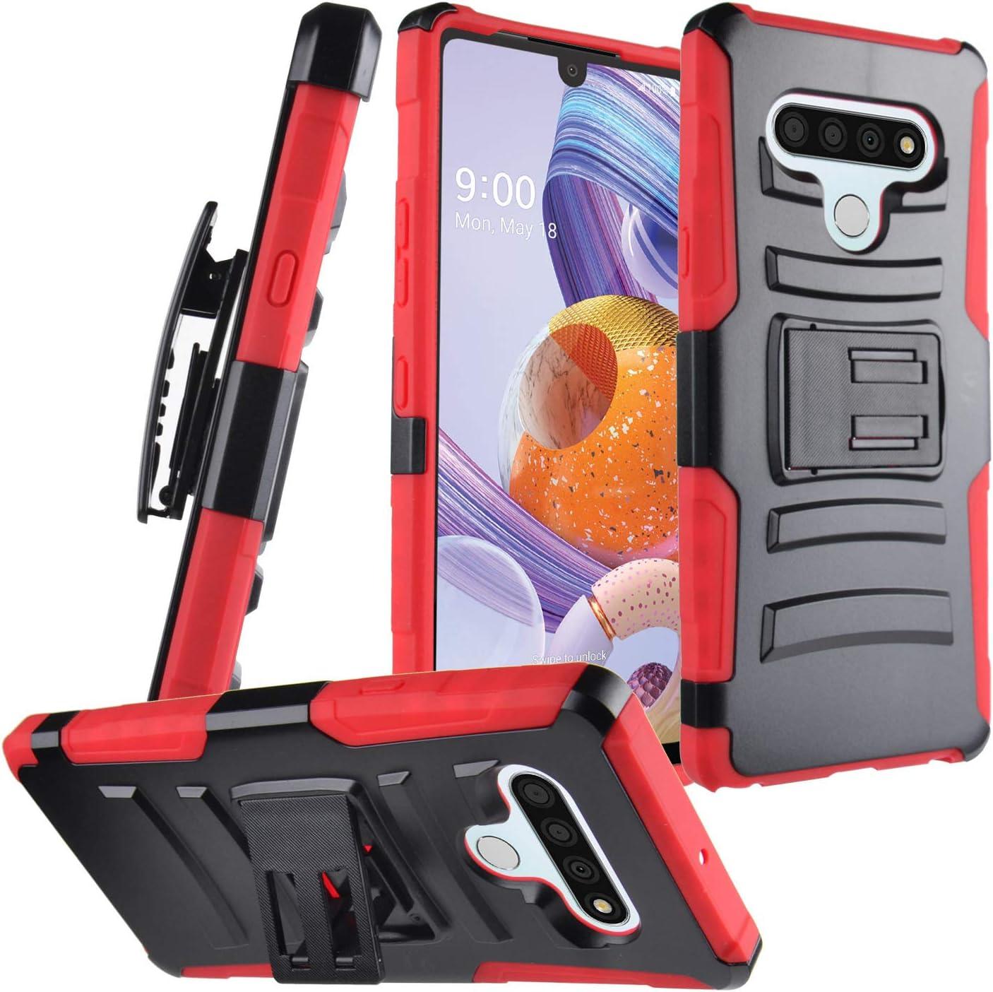 CELZEN - for LG Stylo 6 LM-Q730 (2020) - Hybrid Phone Case w/Stand/Belt Clip Holster - CV1 Red