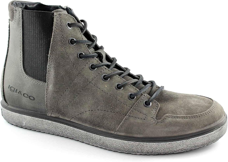 IGI & CO 47552 graue Schuhe Mann Sport Zip Mitte elastischer Schnürung Turnschuhe