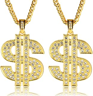 2Pcs Hip Hop Gold Plated Chain Necklace for Men Women 80s 90s Rapper Costume Big Chunky Turnover Chain Necklace Punk Style Necklace