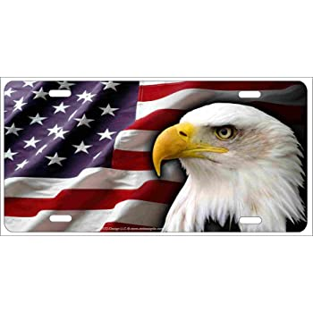 White 4 Holes XiongYe Chen Eagle /& Flag License Plate 12 X 6Aluminum Durable Flag of United States Metal Personalized car tag