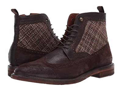 J&M EST. 1850 Brewer Wing Tip Boot (Dark Brown) Men