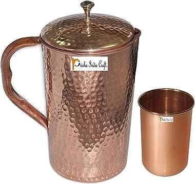 Prisha India Craft® Mejor Calidad Pure Jarra Jarra de cobre (Hammered 1650ml/55.80oz) con un vaso drinkware Conjunto de–J