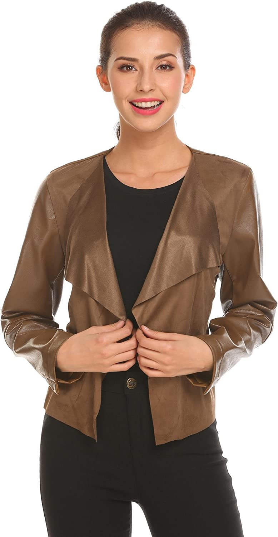 Etuoji Women Leather Lapel Open Front Slim Fit Short Wrap Belted PU Jacket